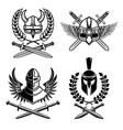 set emblems with viking ancient weapon design vector image vector image