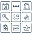 set of 9 new year icons includes arch date vector image vector image
