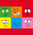 six facial expressions on background colors vector image vector image