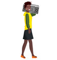 stylish woman with musical box radio record vector image
