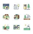 Summer rest flat color icons vector image