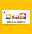 tent view landing page template tourists vector image vector image