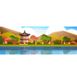 traditional south korea landscape palace or temple vector image