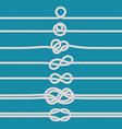 tying knot nautical tied rope knots marine ropes vector image