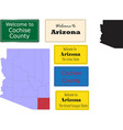 us arizona statecochise county map and road sign vector image vector image