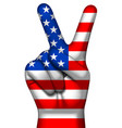victory symbol and american flag on human hand v vector image vector image