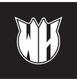 wh logo monogram with horn shape style design vector image vector image