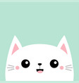 white cat kitten kitty smiling icon cute face vector image vector image