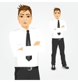 young businessman with arms folded vector image vector image