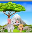 zookeeper and elephant posing with mountain scene vector image vector image