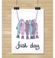 fish design background Fish poster Menu card vector image