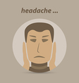 Man with a headache or migraine pain vector image
