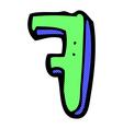 comic cartoon letter F vector image