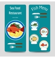 Fish menu flyers template vector image