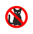 Stop cat sign No cats Ban pet Black cat silhouette vector image