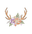 antlers with flowers and plants hand drawn floral vector image vector image