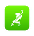 baby carriage simple icon green vector image vector image