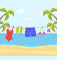beach clothes hanging on rope swimwear and flip vector image