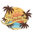beach with palm trees for a print on a tee vector image vector image