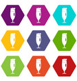 beer glass icons set 9 vector image vector image