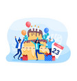 birthday celebration with party guests vector image