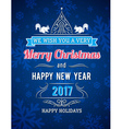 Blue Christmas card with snowflakes and greetings vector image vector image