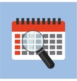 calendar and magnifying glass vector image vector image