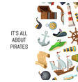 cartoon sea pirates background with place vector image vector image