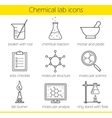 Chemical laboratory equipment icons vector image
