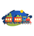 children train on child railway isolated on white vector image