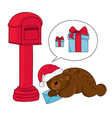 christmas bear new year color vector image