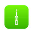 church icon digital green vector image vector image