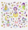 colored set of teenage girl icons cute cartoon vector image