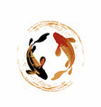 couple koi fish in realistic brush modern art vector image vector image