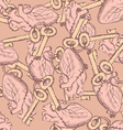 Cute keys and hearts seamless pattern vector image vector image