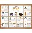 desk calendar print template with zoo vector image