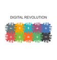 digital revolution cartoon template with flat vector image vector image