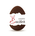 easter broken egg happy easter text bunny ears vector image