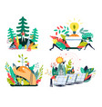 ecology and environment solar panels and planting vector image vector image