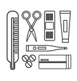 figure tethoscope with hospital tools icon vector image vector image