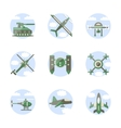 Flat color style military robots icons vector image vector image