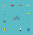 flat icons scooter bicycle lorry and other vector image vector image