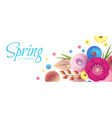 flower paper cut spring design template with vector image