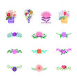 flowers decorative design elements for vector image vector image