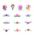 flowers decorative design elements vector image vector image