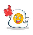 foam finger fried egg character cartoon vector image vector image