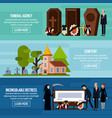 funeral services flat banner set vector image vector image