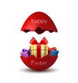 gift box happy easter egg surprise broken red vector image