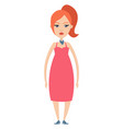 ginger girl on white background vector image vector image
