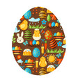 happy easter greeting card with holiday items vector image vector image